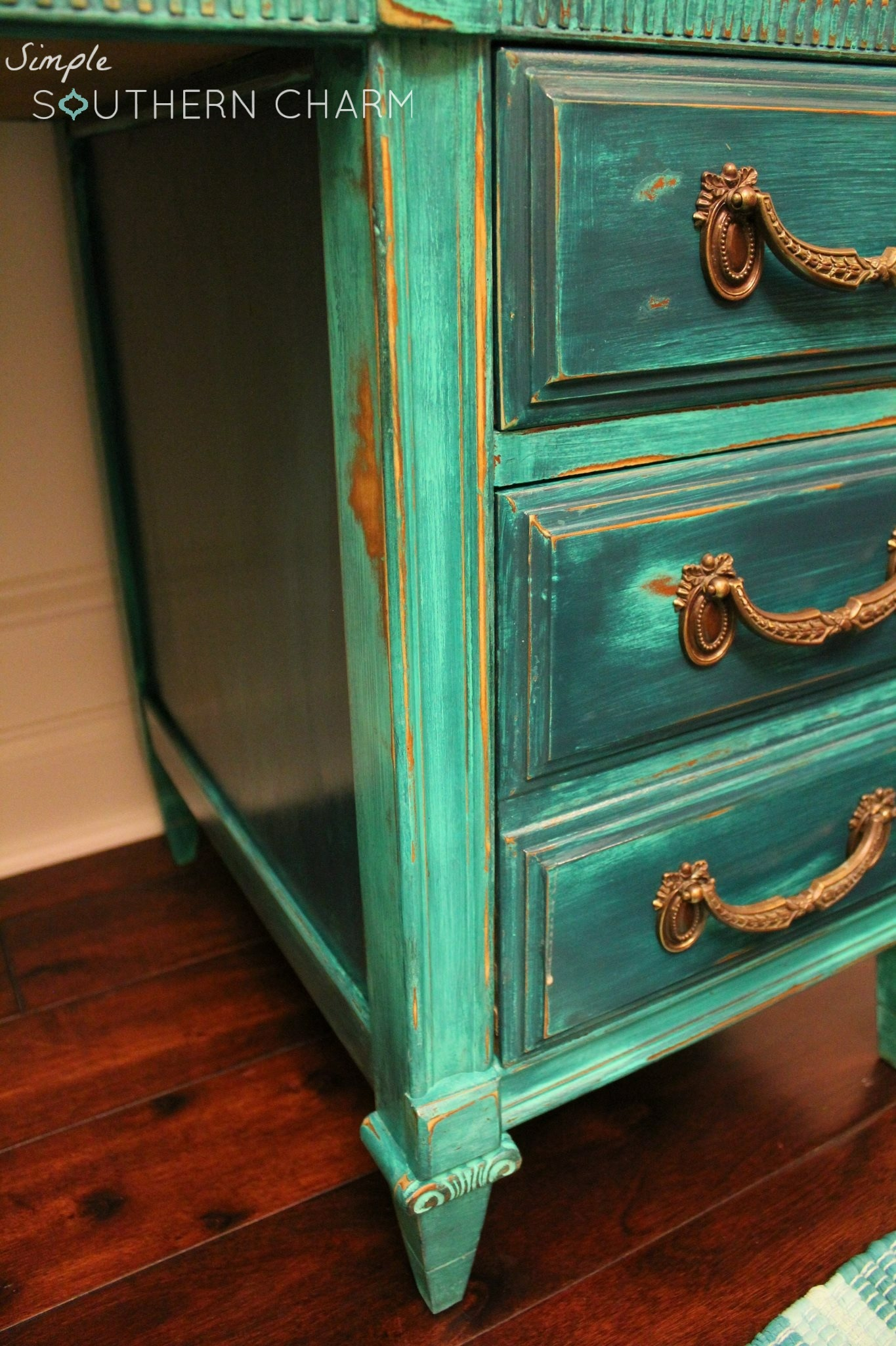 Dumpy to Debutant the tale of a teal distressed desk