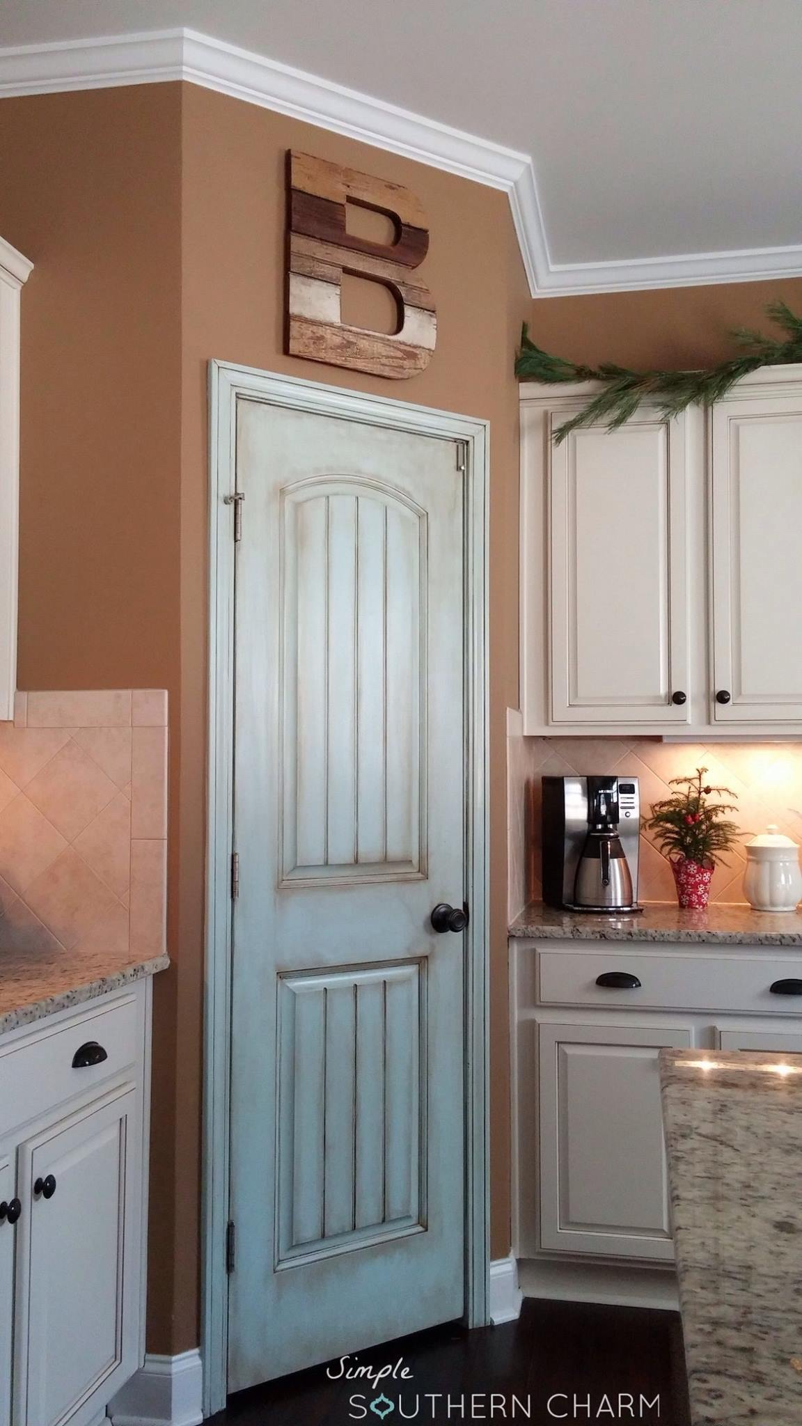 Aqua Pantry Door Update Simple Southern Charm