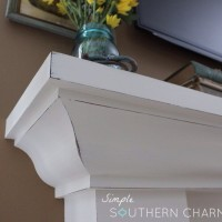 White distressed mantel