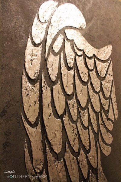 Angel Wings Stencil on Canvas