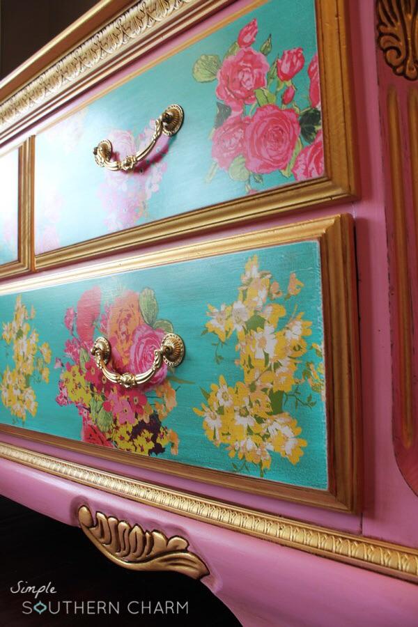 Pink Floral Dresser